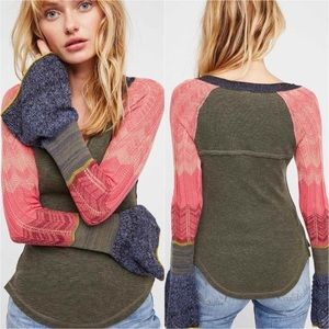 Free People Sunshine Bell Sleeve Thermal Top